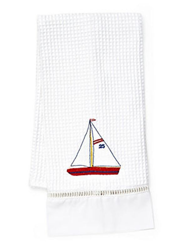 DG02-SBRW** Guest Towel , Waffle Weave - Sailboat (Red, White)