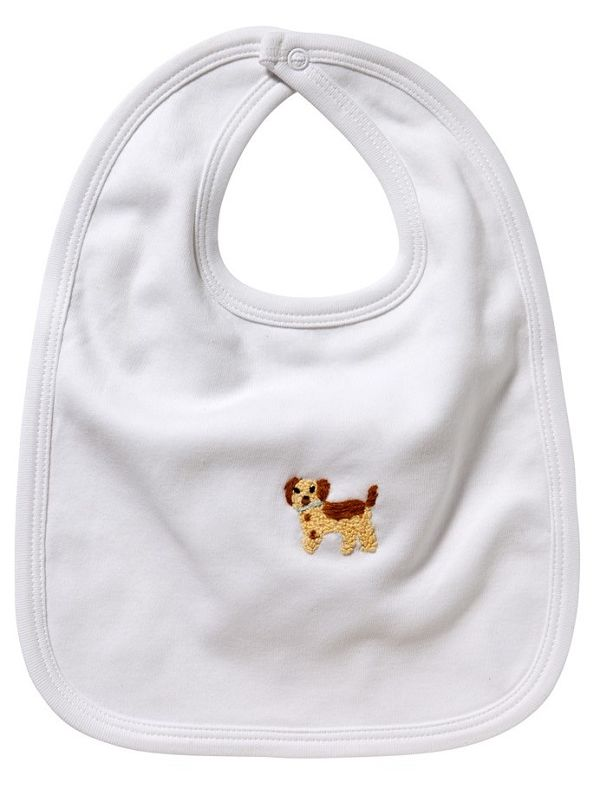 LG90-PPBE Baby Bib** - White Combed Cotton, Hand Embroidered - Puppy (Beige)