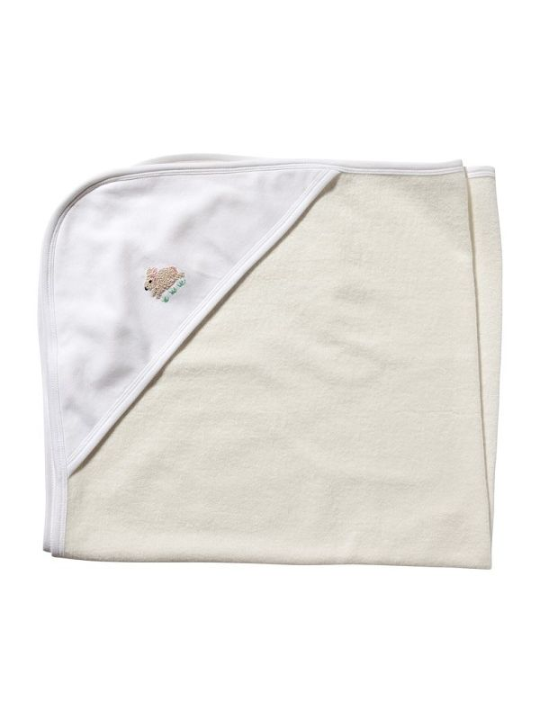 Baby Hooded Towel**, White Combed Cotton - Hand Embroidered