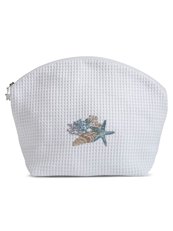 DG07-SHCBB Cosmetic Bag (Large) - Shell Collection (Blue, Beige)