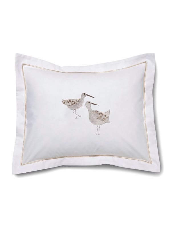 DG78-SPWCR Boudoir Pillow Cover - Sandpipers (White, Cream)