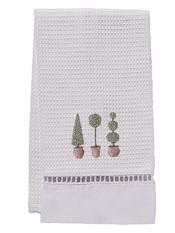 DG02-TTTO Guest Towel, Waffle Weave - Three Topiary Trees (Olive)