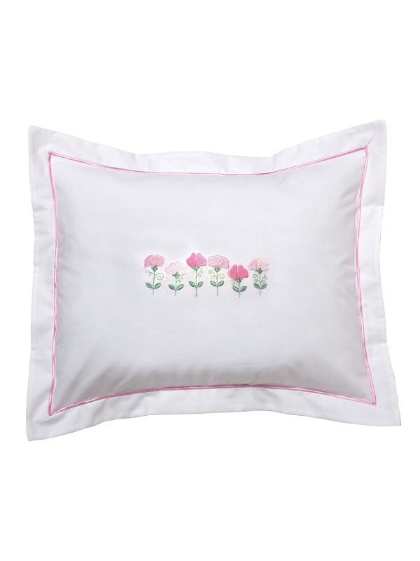 DG78-RSPPK Boudoir Pillow Cover - Row of Sweet Peas (Pink)