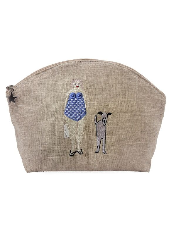Cosmetic Bags (Large) - Natural Linen, Embroidered