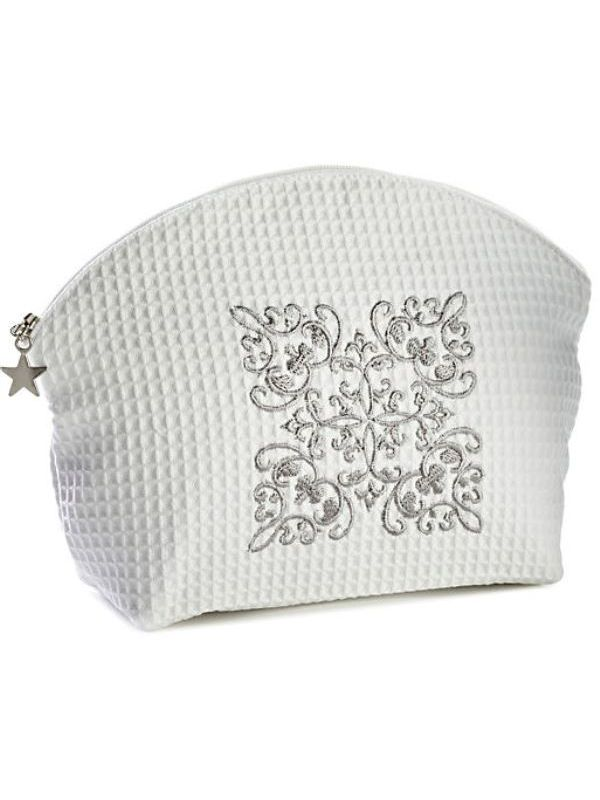 DG07-CSPW Cosmetic Bag (Large) - Corsican Scroll (Pewter)