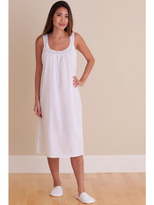 Meghan White Cotton Nightgown** - EL321