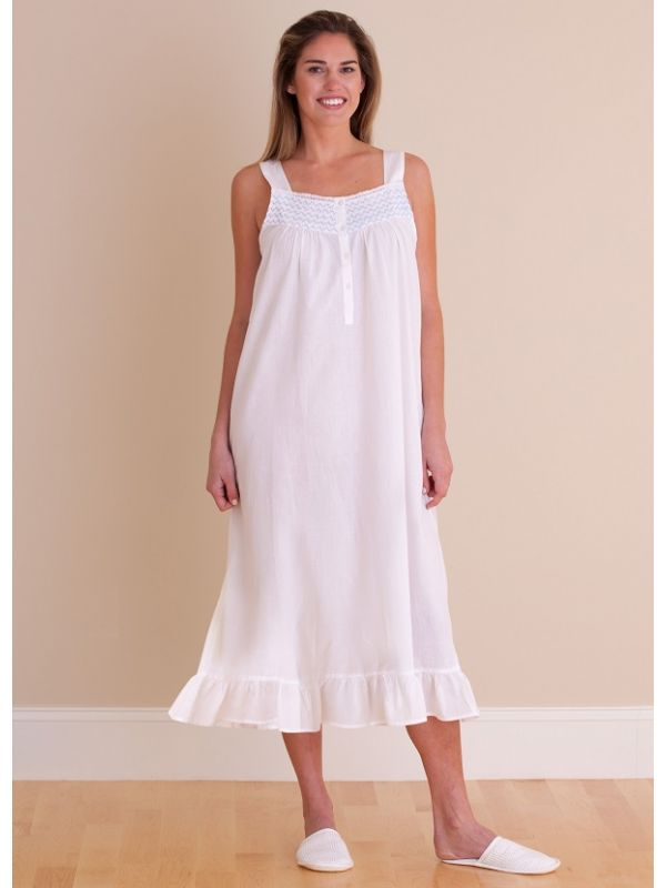 Vicki White Cotton Nightgown** - EL322