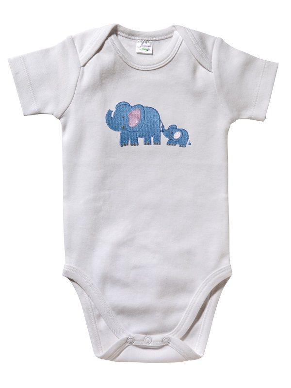 RW25-EBBL Onesie (Short Sleeve)**, Combed Cotton - Elephant & Baby (Blue)