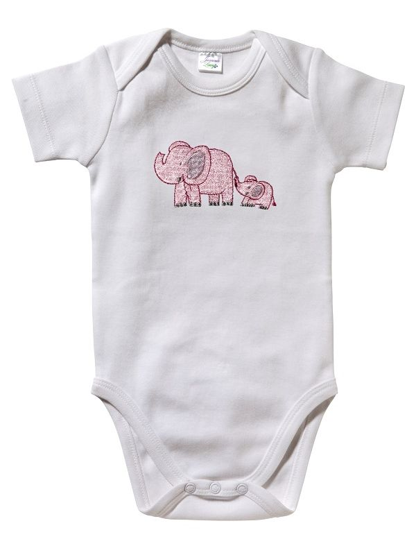 RW25-EBPK Onesie (Short Sleeve)**, Combed Cotton - Elephant & Baby (Pink)