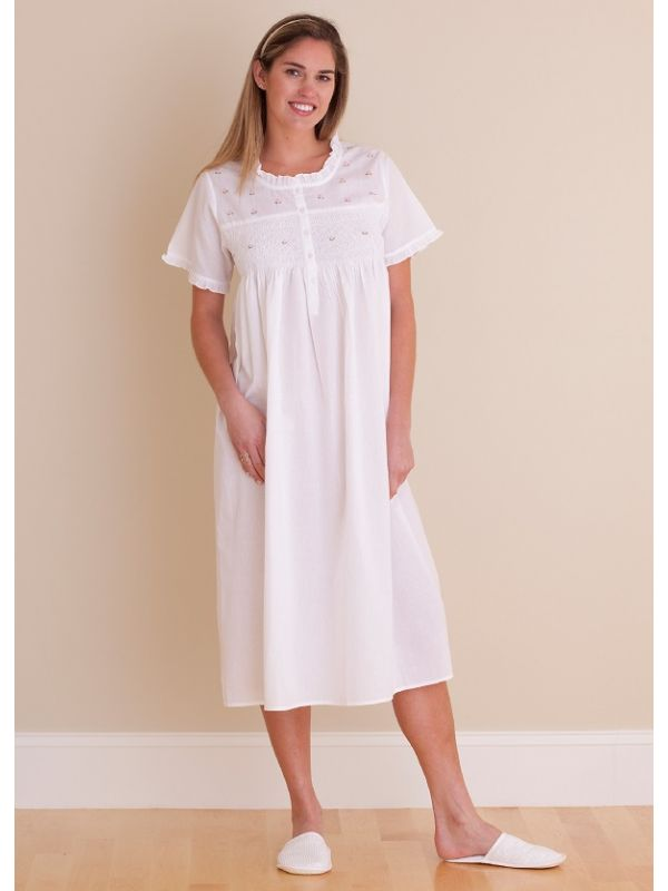 Cathy White Cotton Nightgown** - EL324