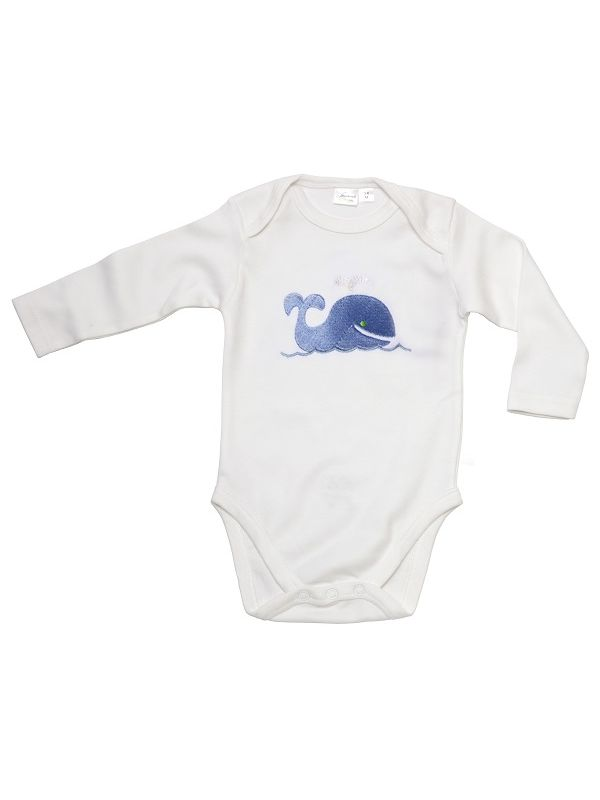 RW21-WB Onesie (Long Sleeve)**, Combed Cotton  - Whale (Blue)
