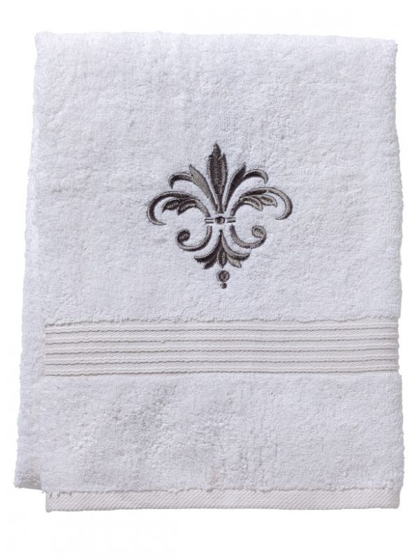 Bath Towel - White Cotton Terry, Embroidered