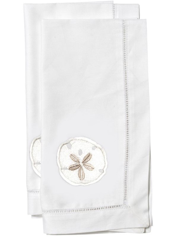 Dinner Napkins** - White Cotton with Hem Stitch, Embroidered (Set of 2)