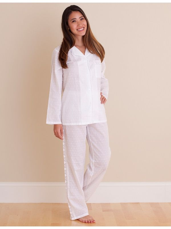 Natalie White Cotton Voile Pajamas** - QD004