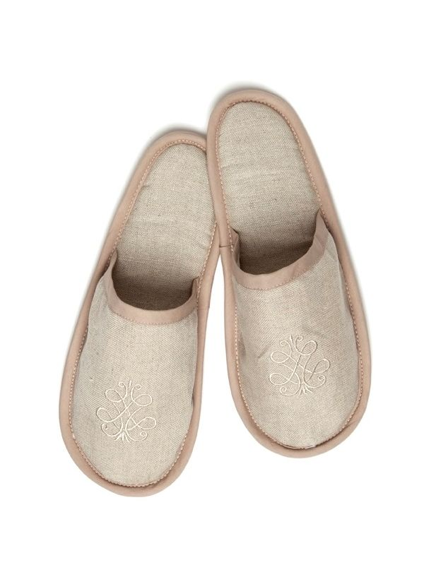 DG40-FSBE Slippers, Natural Linen - French Scroll (Beige)