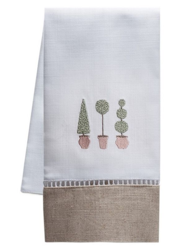 DG49-TTTO - Guest Towel, Combo Linens - Three Topiary Trees (Olive)
