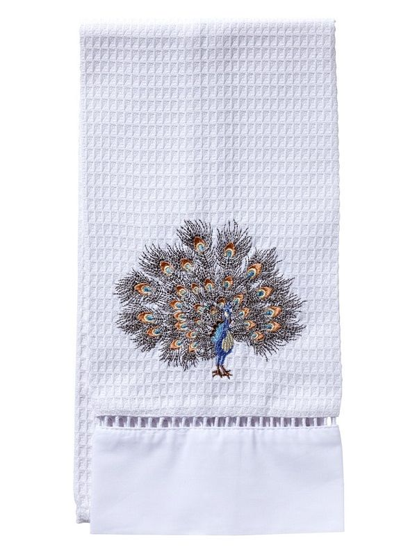 DG02-FPGPW Guest Towel, Waffle Weave - Feathered Peacock (Gold, Pewter)