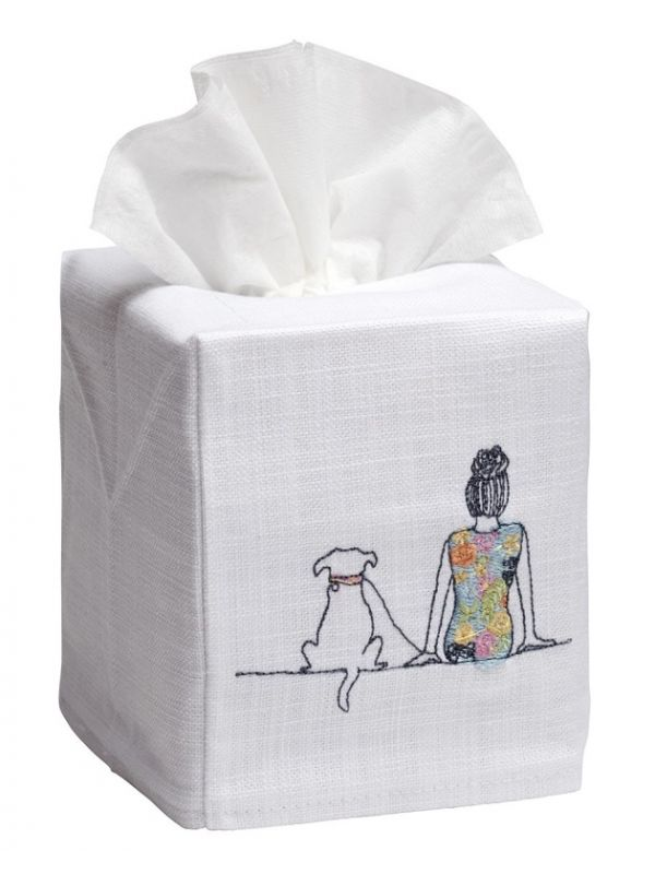 DG17-GAD Tissue Box Cover, Linen Cotton - Girl & Dog