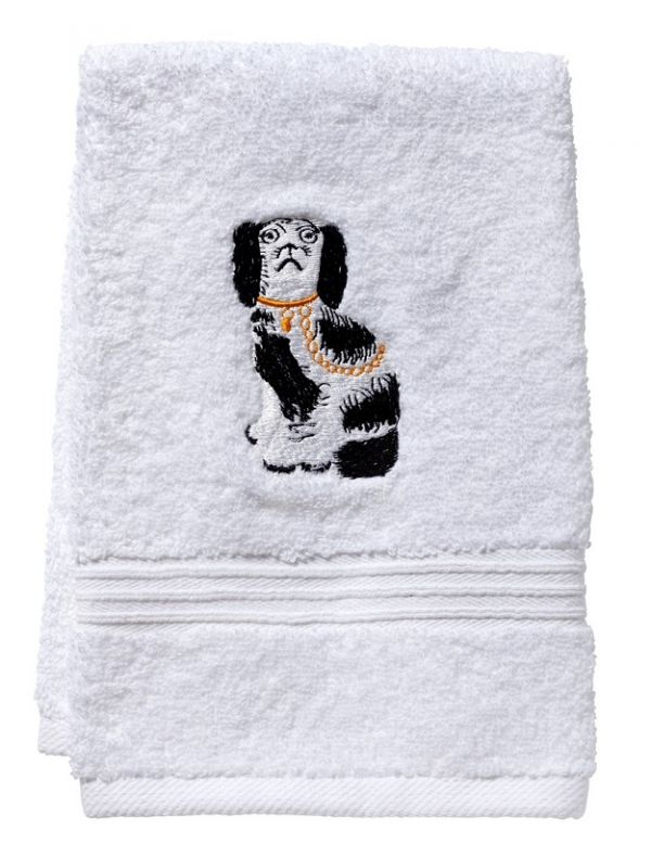DG70-SDGBK Guest Towel, Terry - Staffordshire Dog (Black/White)