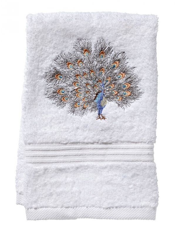 DG70-FPGPW Guest Towel, Terry - Feathered Peacock (Gold/Pewter)