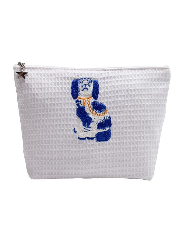 DG56-SDGBL Cosmetic Bag (Small), Waffle Weave - Staffordshire Dog (Blue/White)