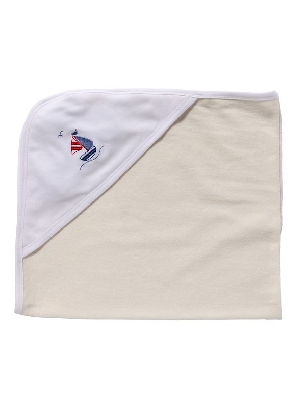 LG88-SASB** Baby Hooded Towel, White Combed Cotton - Sailboat & Seagull (Blue)