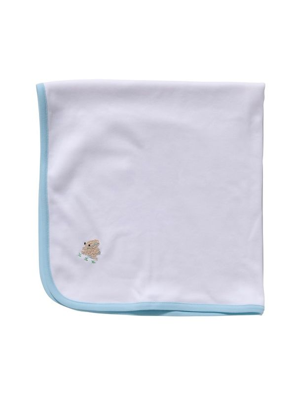 LG89-BUCRB** Baby Blanket, White Combed Cotton - Bunny (Cream/Blue)
