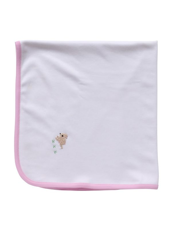 LG89-BUCRP** Baby Blanket, White Combed Cotton - Bunny (Cream/Pink)