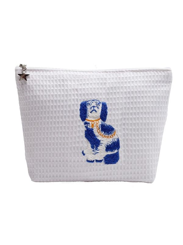 Cosmetic Bag (Medium) - White Waffle Weave, Embroidered