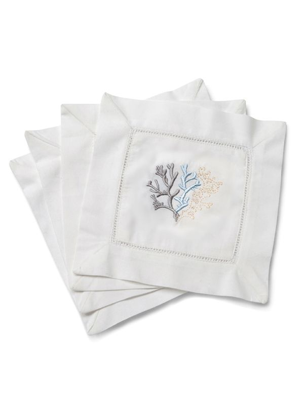 LG82-CLDE Cocktail Napkins - Coral (Duck Egg Blue)**. Set of 4