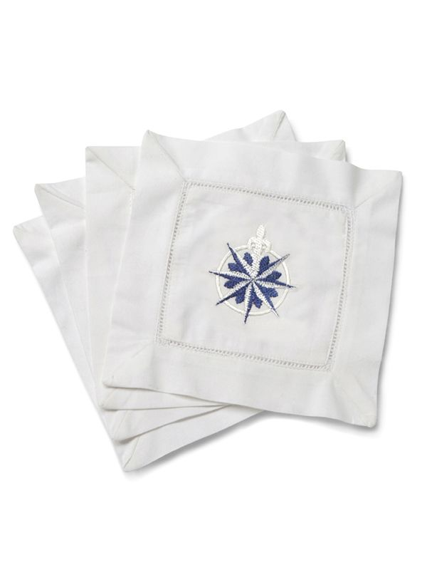 LG82-CORBL Cocktail Napkins - Compass Rose (Blue)**. Set of 4