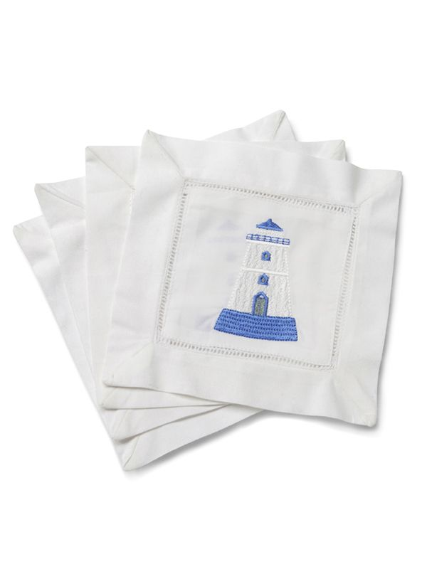 LG82-LHBW Cocktail Napkins - Lighthouse (Blue, White)**. Set of 4