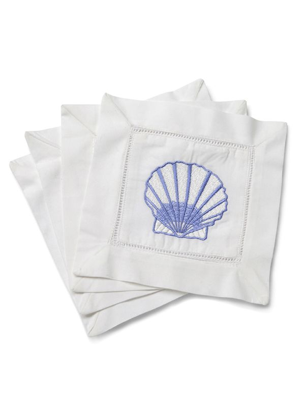 LG82-SCBL Cocktail Napkins - Scallop (Blue)**. Set of 4