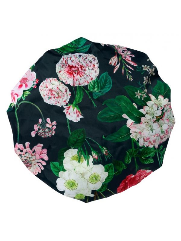 Shower Cap, Peony Design (Black) - RH114-PBK