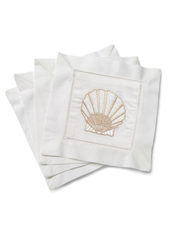 LG82-SCBE Cocktail Napkins - Scallop (Beige)**. Set of 4