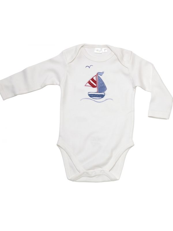 RW21-SASB Onesie (Long Sleeve)**, Combed Cotton  - Sailboat & Seagull (Red/Blue)