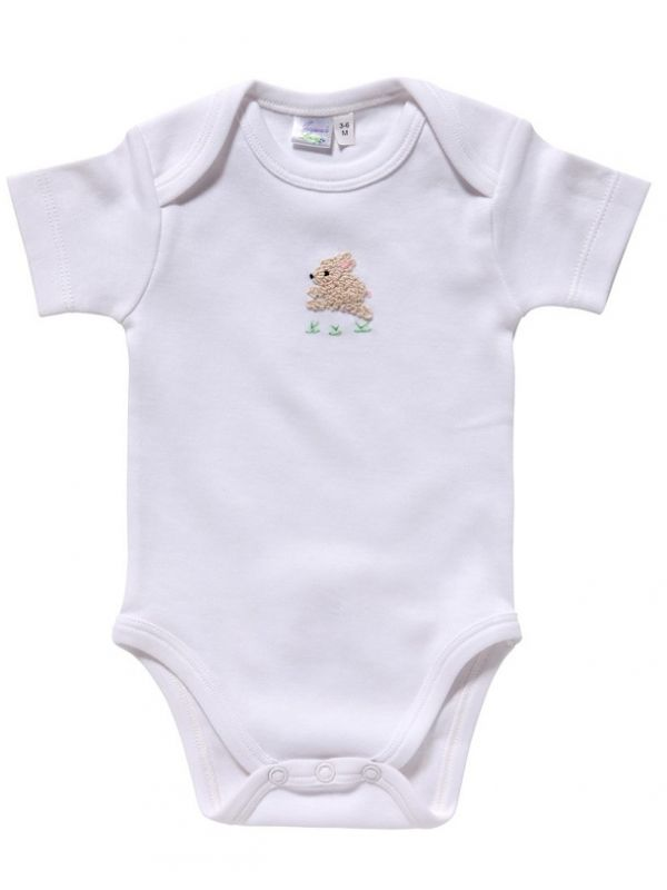 RW25-BUCRP Onesie (Short Sleeve)**, Combed Cotton - Bunny (Cream/Pink)