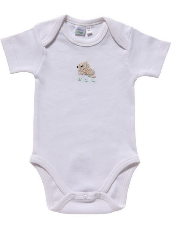 RW25-BUCRB Onesie (Short Sleeve),** Combed Cotton - Bunny (Cream/Blue)