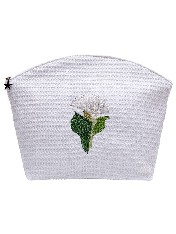 Cosmetic Bag (Large) - White Waffle Weave, Embroidered