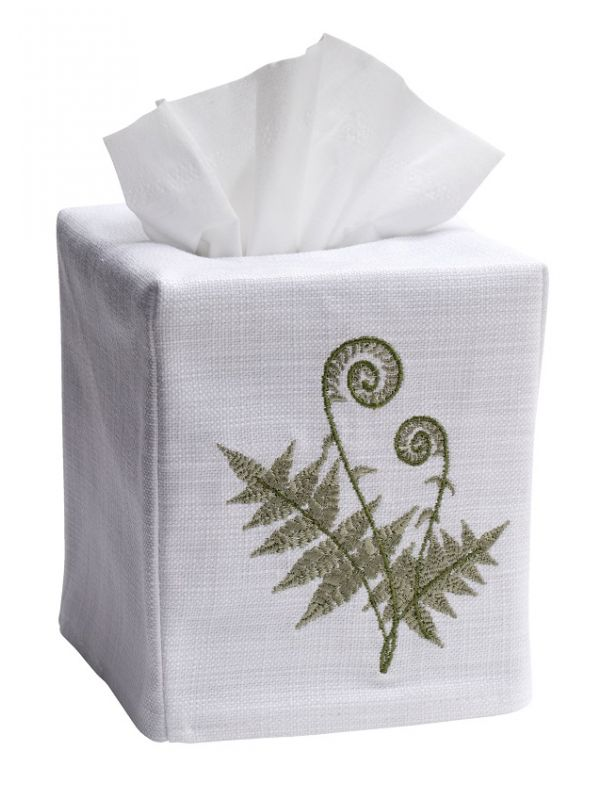DG17-FFO Tissue Box Cover, Linen Cotton - Fiddlewood Fern (Olive)