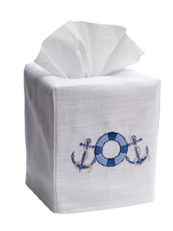 DG17-LSVBL Tissue Box Cover, Linen Cotton - Life Saver (Blue)