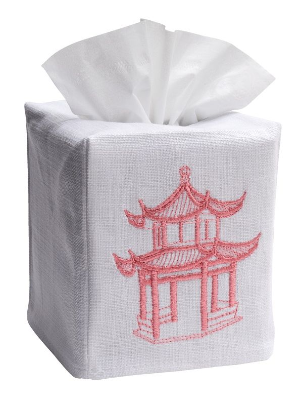 DG17-PAGPK Tissue Box Cover, Linen Cotton - Pagoda (Pink)