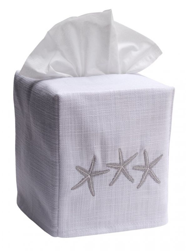 DG17-TSFPW Tissue Box Cover, Linen Cotton - Three Starfish (Pewter)