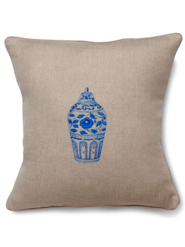 Throw Pillow - Natural Linen, Embroidered