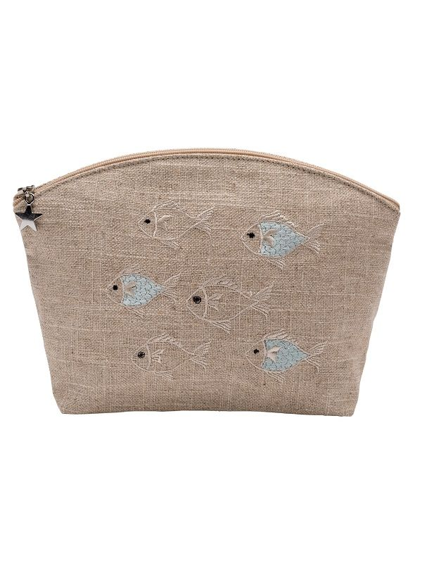 Cosmetic Bag (Medium)** - Natural Linen, Embroidered