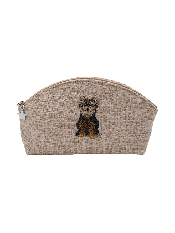 DG38-YD Cosmetic Bag, Natural Linen (Small) - Yorkie Dog (Brown)