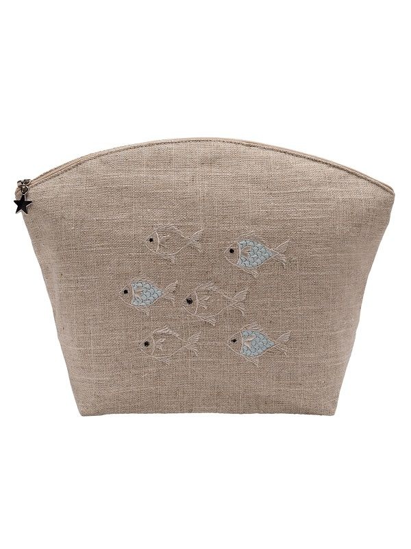 DG39-SOFAQ Cosmetic Bag, Natural Linen (Large) - School of Fish (Aqua)
