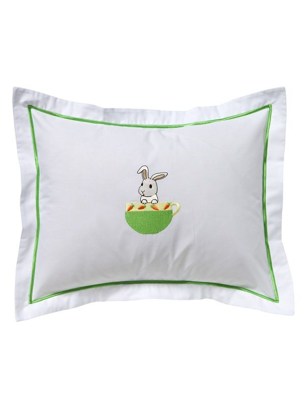 DG81-BUICGY Baby Boudoir Pillow Cover - Bunny in a Cup (Green/Yellow)