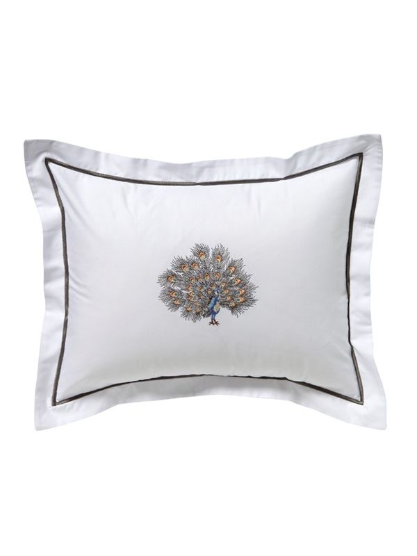 DG78-FPGPW Boudoir Pillow Cover - Feathered Peacock (Gold/Pewter)