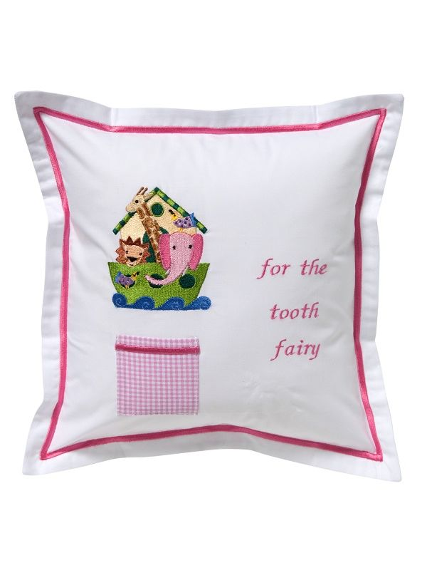 DG131-NOHPK Tooth Fairy Pillow Cover - Noah's Ark (Pink)